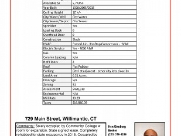 Listing Image #3 - Retail for sale at 729 Main Street, Willimantic CT 06226