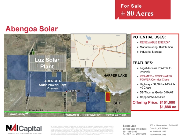 Listing Image #1 - Land for sale at 80 Lockhart Road, Hinkley CA 92347